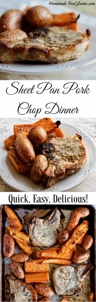 Sheet Pan Pork Chop Dinner answers the what to make in a hurry question. Your whole family will enjoy this seasoned dish. Make it with just a few minutes of preparation.