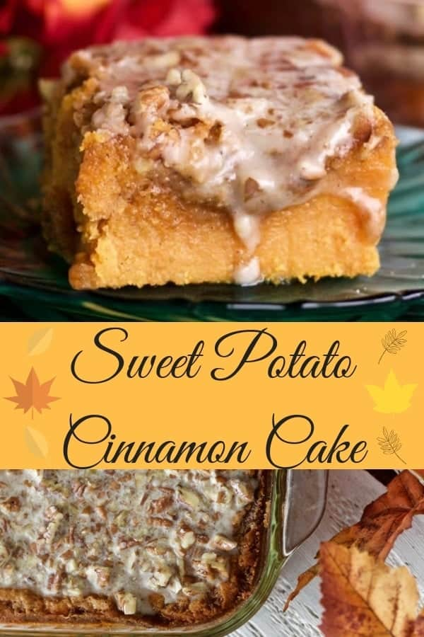 This moist, rich, sweet potato cinnamon cake is a delicious dessert. This holiday favorite is chock full of fibrous, good for you sweet potatoes and healthy coconut oil. Cinnamon adds a perky spice to compliment the nutty glaze and brown sugar topping. This is a wonderful fall treat or popular holiday dessert. #Thanksgivingmenu #dessert #sweetpotatorecipe