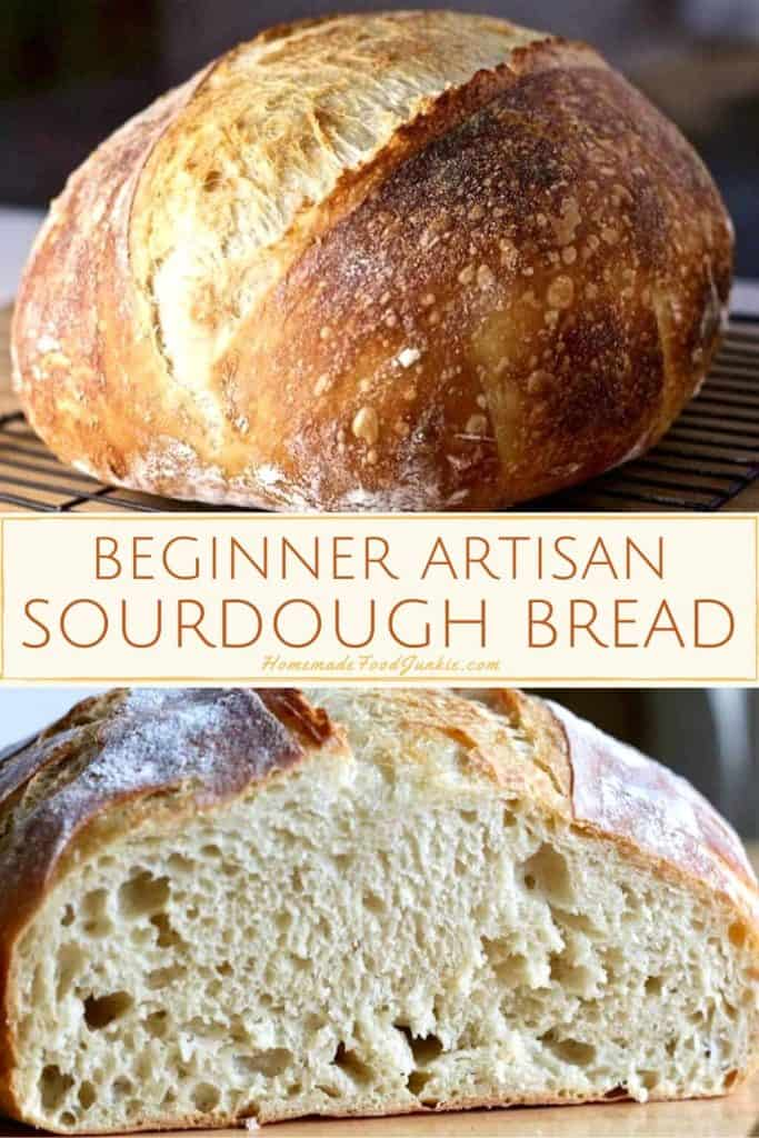 beginner artisan sourdough bread-pin image