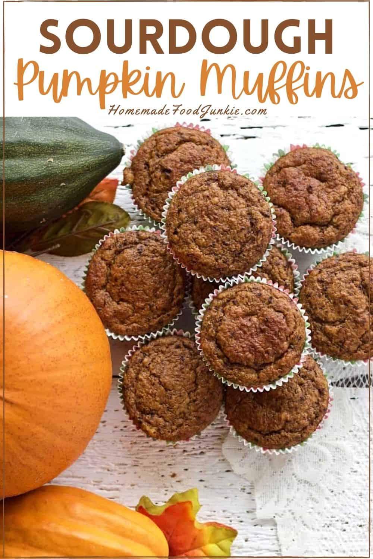 Sourdough pumpkin muffins-pin image