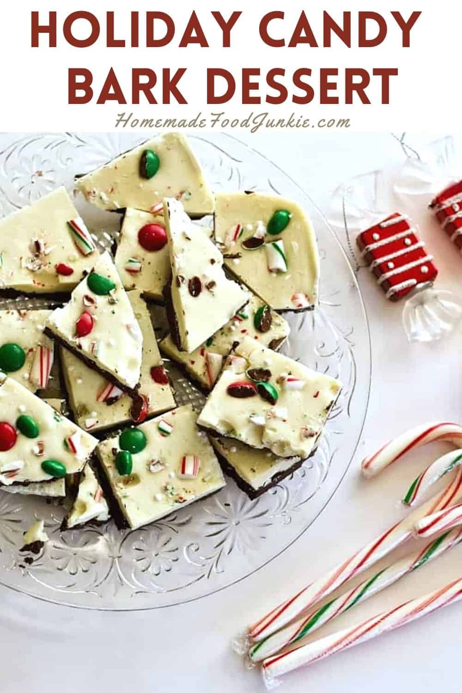 Holiday candy bark dessert-pin image