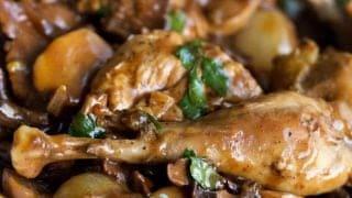 Wild Pheasant In Mushrooms and Wine Sauce
