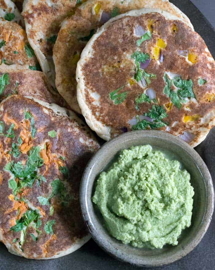 Vegan Instant Pot Uttapam with Cilantro Coconut Chutney by Healthy Slow Cooking