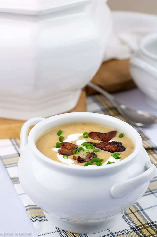 Instant Pot Potato Leek Bacon Soup by Flavor and Savour