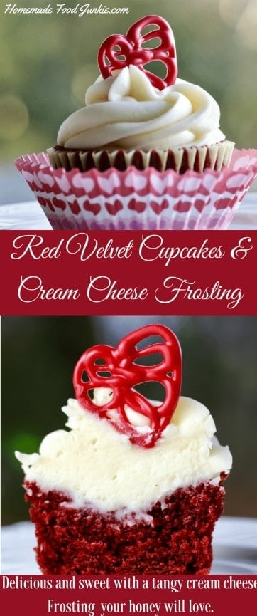 Red Velvet Cupcakes with Cream Cheese Frosting are Delicious and sweet with a hint of tangy cream cheese. These red velvet cupcakes with cream cheese frosting are amazingly good. They aren't hard to make from scratch and they are well worth the little bit of effort. Your honey will love you for it! #cupcake Cupcakerecipe #redvelet #redvelvetcupcake #creamcheesefrosting #frostingrecipe #chocolatetoppers #holidayrecipe #valentinesDayRecipe #Birthdaytreat #SpecialDayrecipe #baking #cakes