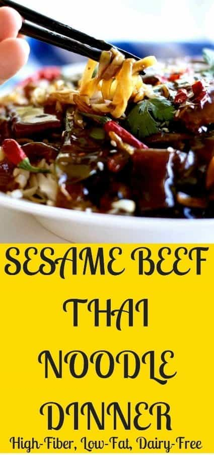 Sesame Beef Thai Noodle Dinner is a great meal planning recipe. Made with leftover roast beef this yummy easy dinner has a Rich, spicy, Asian sauce over Thai noodles, beef, peppers and snow peas. Make this High-​Fiber, Low-​Fat, Dairy-​Free 30 minute weeknight dinner soon! #beef #recipe #dinner #quickdinner #Asianrecipe #noodles #pasta #Dairyfree #highfiber #lowfat