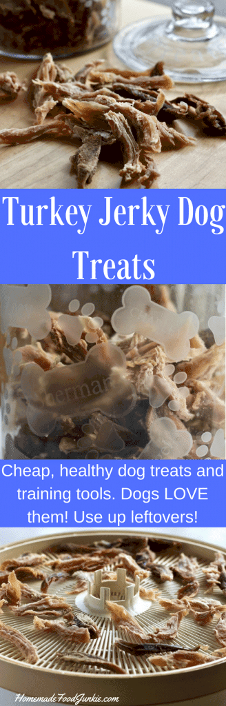 Turkey Jerky Dog Treats recipe. Dry cooked or raw meat in strips for yummy healthy dog treats and training tools.