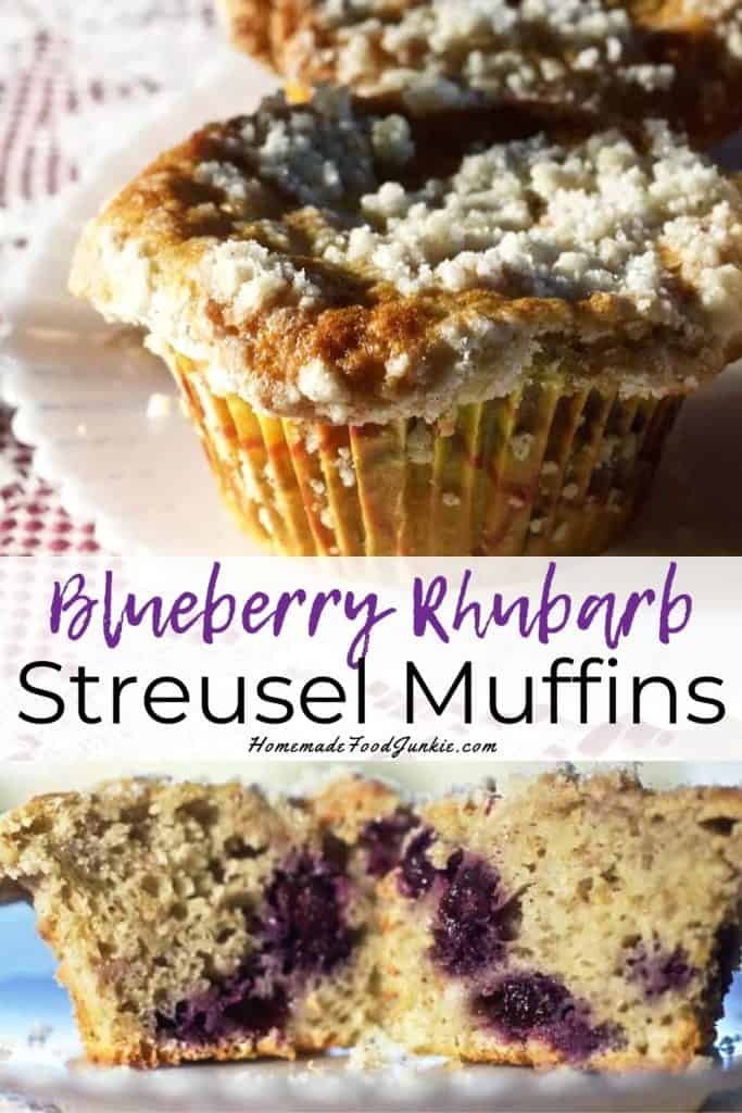 Blueberry Rhubarb Streusel Muffins-Pin Image