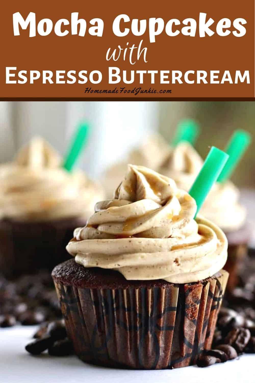 Mocha cupcakes with espresso buttercream-pin image