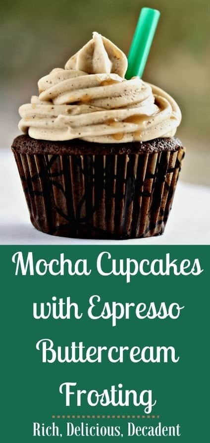 Mocha Cupcakes With Espresso Frosting are The perfect combination of coffee and chocolate, these decadent mocha cupcakes with espresso buttercream frosting are the perfect morning treat, office party offering or after dinner indulgence. With a cup of coffee of course! #mochacupcakes #coffeecupcakes #cupcakerecipe #cupcakes #partyfood #partyrecipe #dessert #holidayrecipe