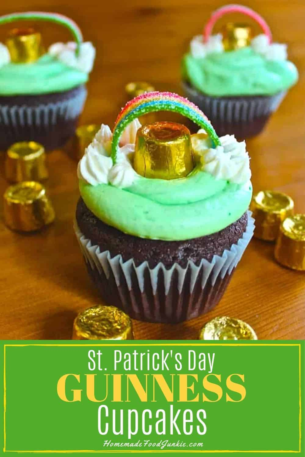 St. Patrick's day Guinness cupcakes-pin image