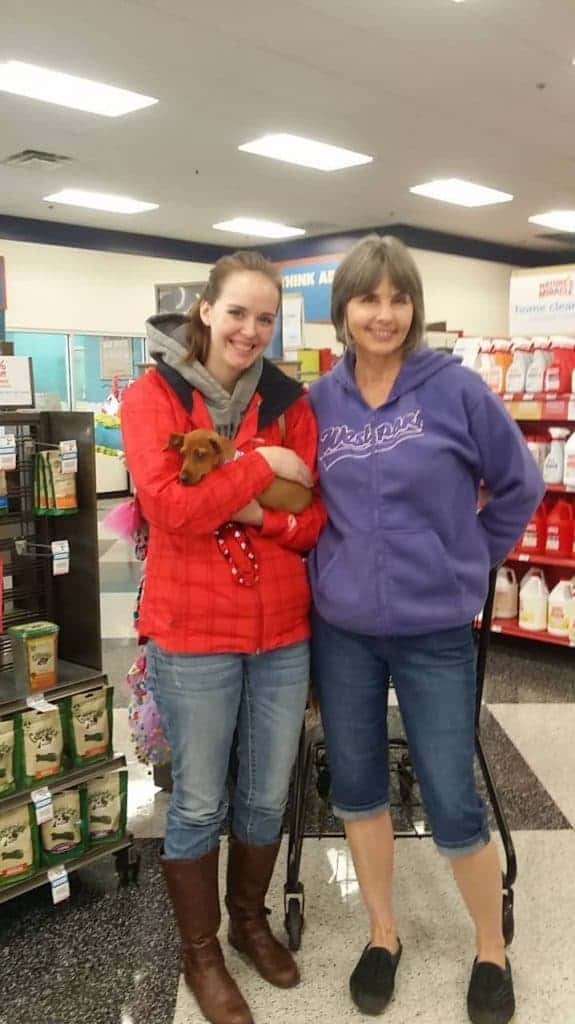 Picking up our rescue dog Carson at Pet Smart