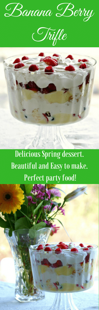 Banana Berry Trifle in a lovely bowl makes a beautiful party dessert. Easy and delicious!