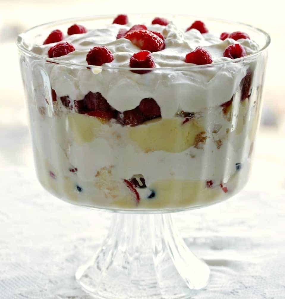 Banana Berry Trifle in a gorgeous trifle bowl on pedestal