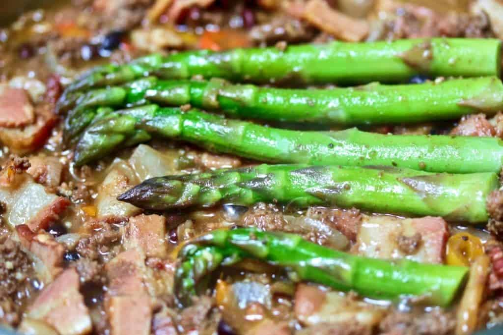 Moose meat skillet Dinner with Asparagus