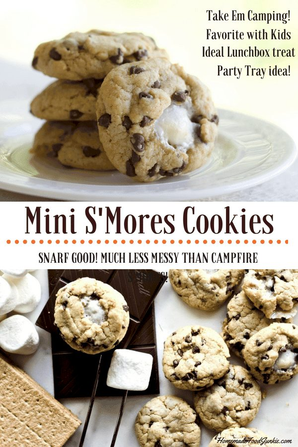 Mini S'mores Cookies Entice Even The Pickiest Cookie Connoisseurs. These Treats Have All The Traditional S'mores Ingredients Blended Together Into An Amazing Flavorful Bite. Kids Love Em! Put These Yummers In Your Lunch Box, Snacks, Party Tray Or Backpack For A Convenient Bite Of Sustaining Deliciousness. #Cookies #Partyfood #Desserttable #Lunchboxtreat #Kidscooking