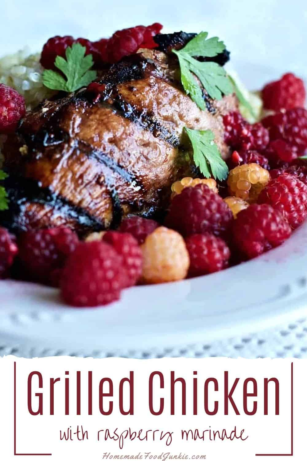 Grilled Chicken with raspberry marinade-pin image