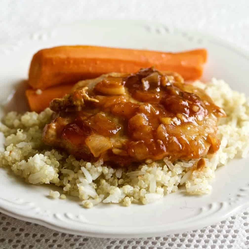 Instant Pot Pork Chop Dinner plated