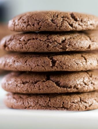Chewy Chocolate cookies in a stack