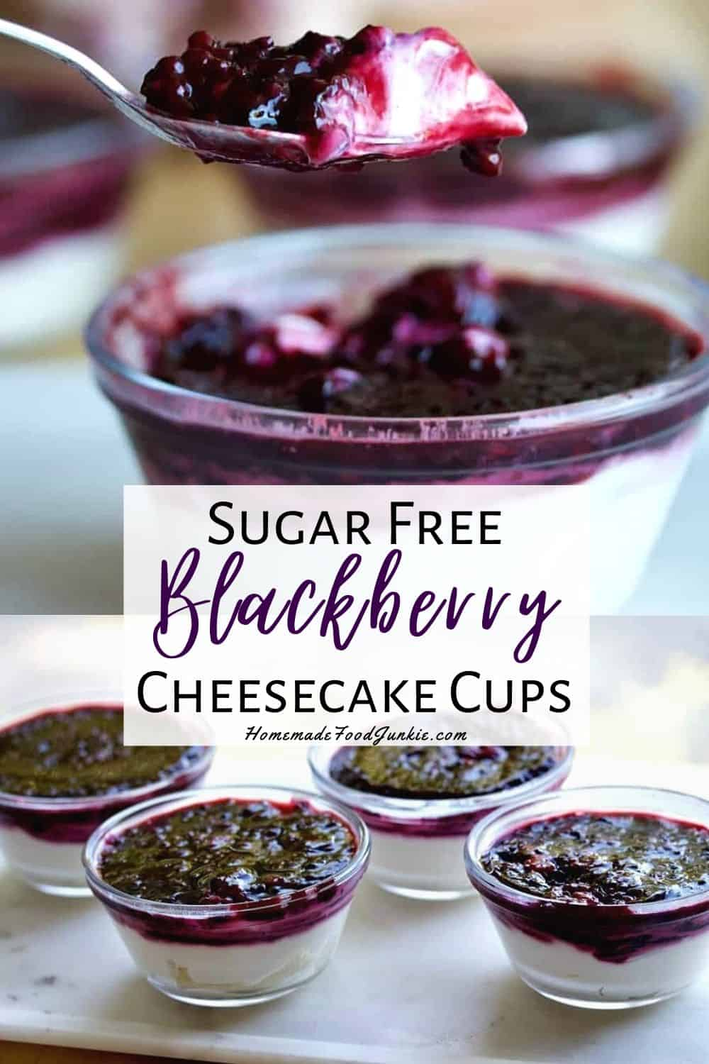 Sugar free blackberry cheesecake cups-pin image