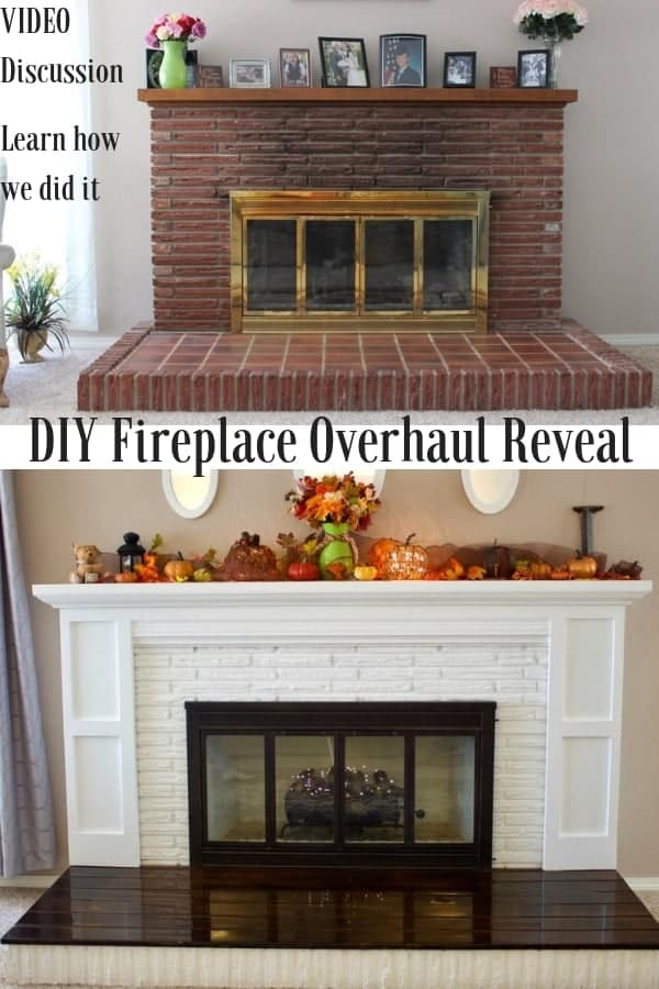 DIY Fireplace Overhaul Reveal DIY Fireplace Overhaul Reveal with a video discussion. Learn how we transformed our ugly old fireplace into a gorgeous focal point for our home! #DIY #diy #fireplace #brickfireplace #paintingbrickfireplace #fireplaceremodel #fireplaceoverhaul #brick #fireplace #paint