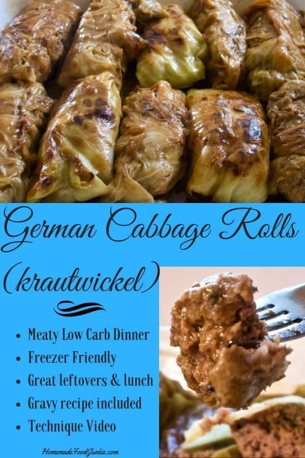 German Cabbage Rolls( krautwickel) a meaty low carb dinner the whole family will enjoy. #cabbage #recipe #dinner #meat #lowcarb #germanrecipe #homemadefoodjunkie