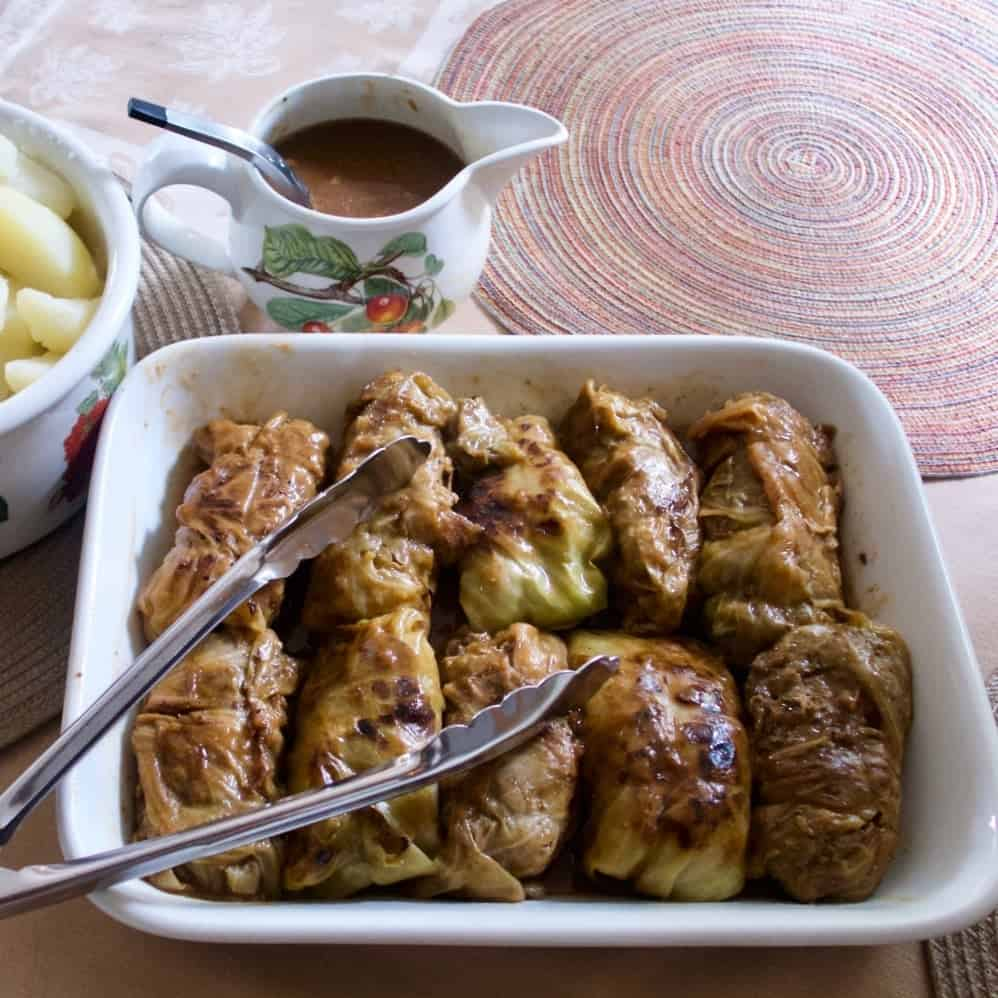 German Cabbage Rolls with Gravy and potatoes ready to serve.