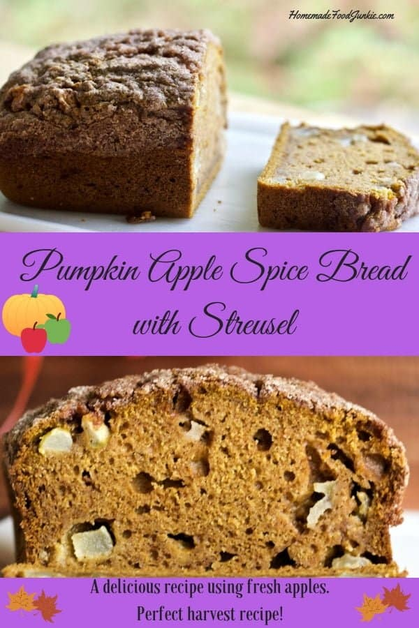Pumpkin Apple Spice Bread with Streusel with a sugary Streusel topping hits all the warm and cozy happy notes of Fall. #pumpkinbread #pumpkin #fallrecipe #fall #apples #freshapple #applerecipe #bread #quickbread #partyfood #holidayrecipe #breakfast #lunchbox #desserttable