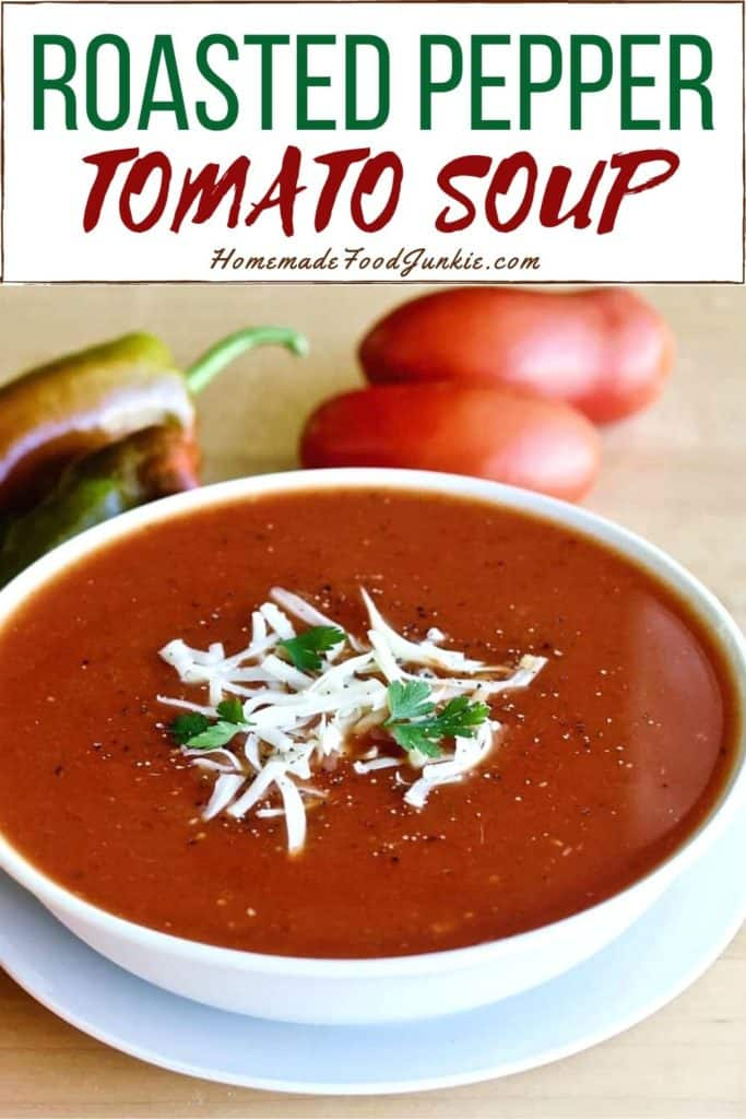 Roasted pepper tomato soup-pin image