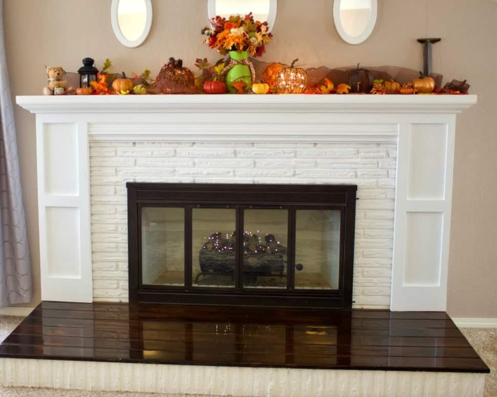 Fireplace Overhaul Reveal. DIY Brick Fireplace decorated for Fall