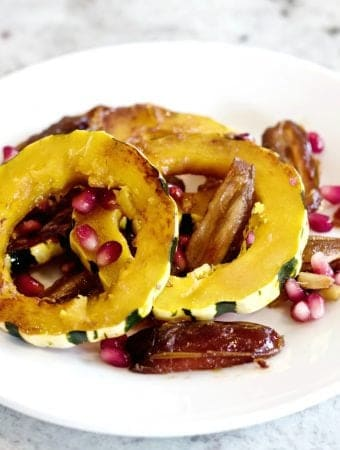 Delicata Squash Saute' on a white plate.