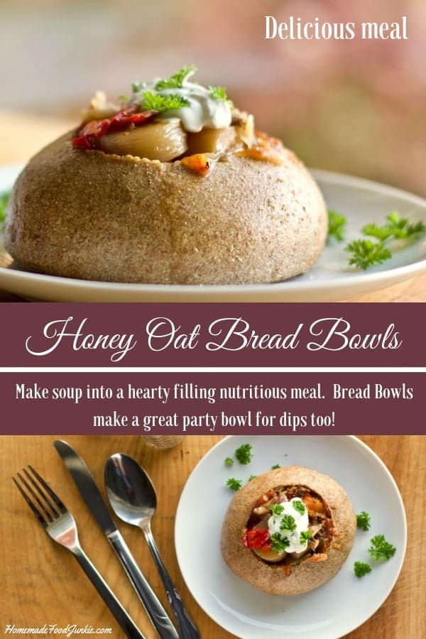 Honey Oat Bread Bowls make soup into a hearty filling nutritious meal. These delicious bread bowls have lots of flavor and substance. They make a great party bowl for dips too! #breadbowls #bread #breadmaking #soupbowls #partybowl