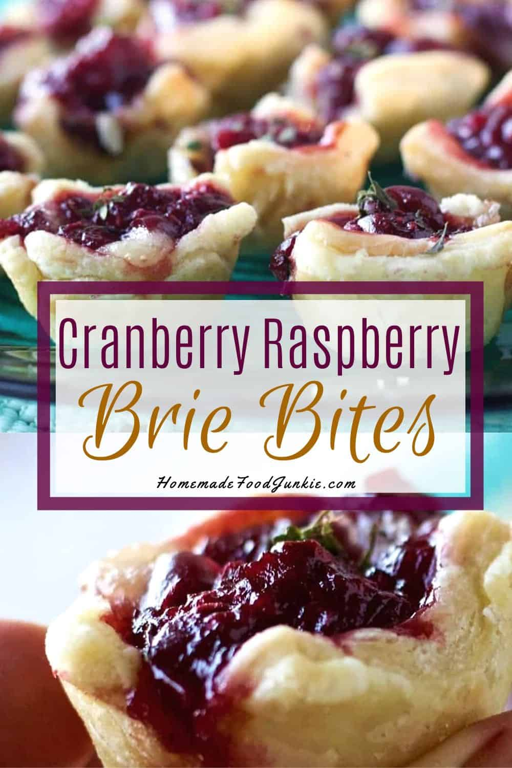 cranberry raspberry brie bites-pin image