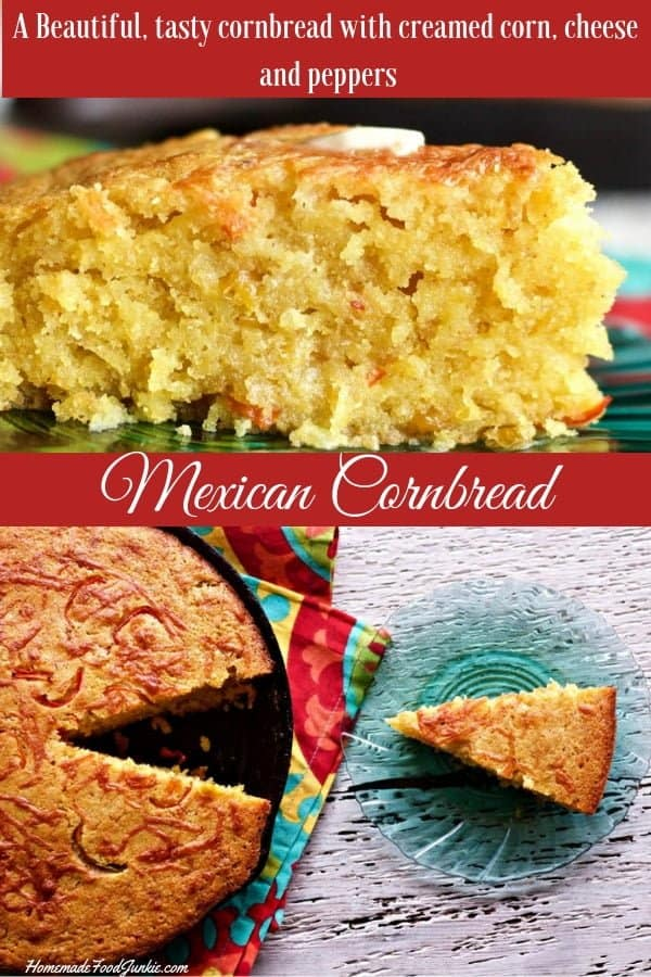 Mexican Cornbread is a moist, slightly sweet cornbread flavored with a tiny pepper kick to keep it interesting #cornbread #cornbread recipe#mexicancornbread #mexicancornbread recipe #mexicansides #sidedish #cornbread #soupside #HomemadeFoodJunkie