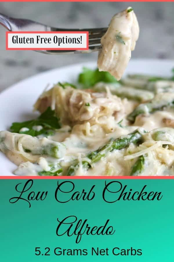 Low Carb Chicken Alfredo is gluten free and fantastically good! The whole family will love this dinner. #lowcarbrecipe #glutenfreerecipe #chickenalfredo #chickendinner #chickenrecipe #easydinner #quickdinner #weeknightdinner