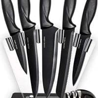 Chef Knife Set Knives Kitchen Set - Kitchen Knives Set Kitchen Knife Set with Stand - Plus Professional Knife Sharpener - 7 Piece Stainless Steel Cutlery Knives Set by HomeHero
