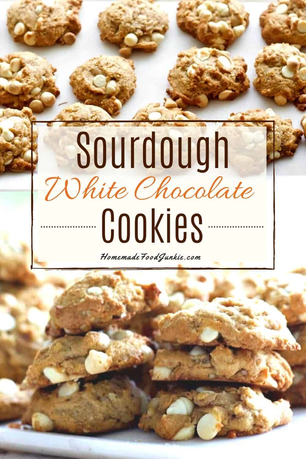 Sourdough white chocolate cookies-pin image