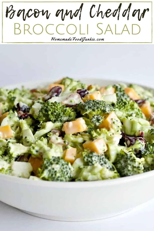Bacon and Cheddar Broccoli Salad-pin image