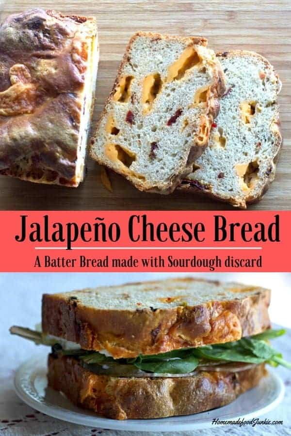 Jalapeño Cheese Bread. A flavorful sourdough discard recipe. So easy with your fed starter and this recipe makes great grilled sandwiches! #sourdoughdiscardrecipe #sourdoughrecipe #sourdoughbatterbread #batterbread #breadrecipe #homemadefoodjunkie #cheesebread