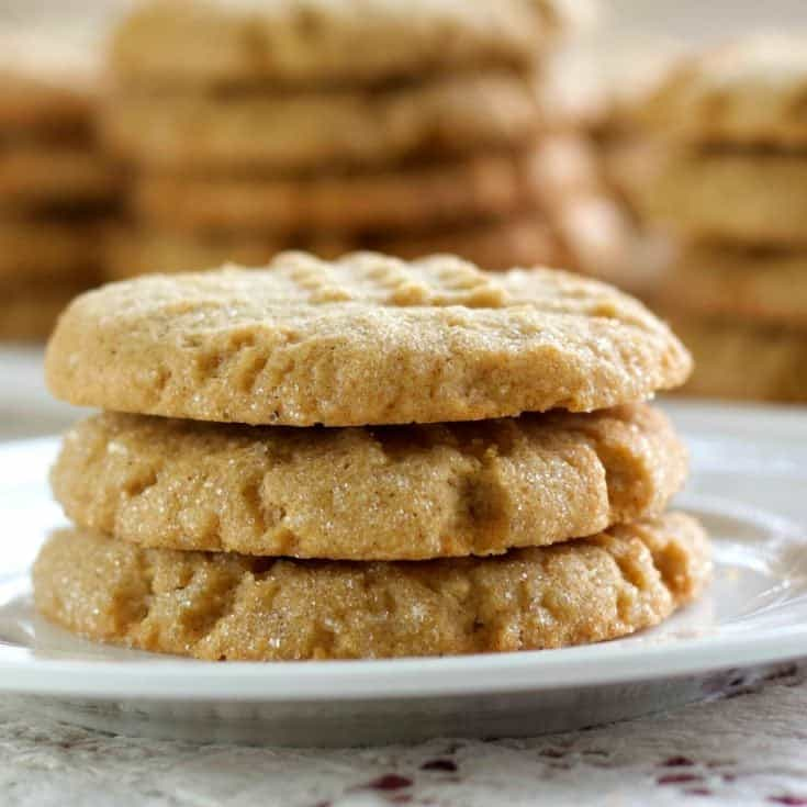 Sourdough Peanut Butter Cookies Stacked