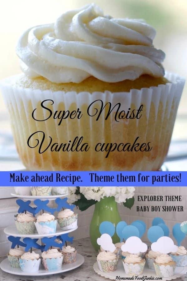 Super moist vanilla cupcakes-pin image