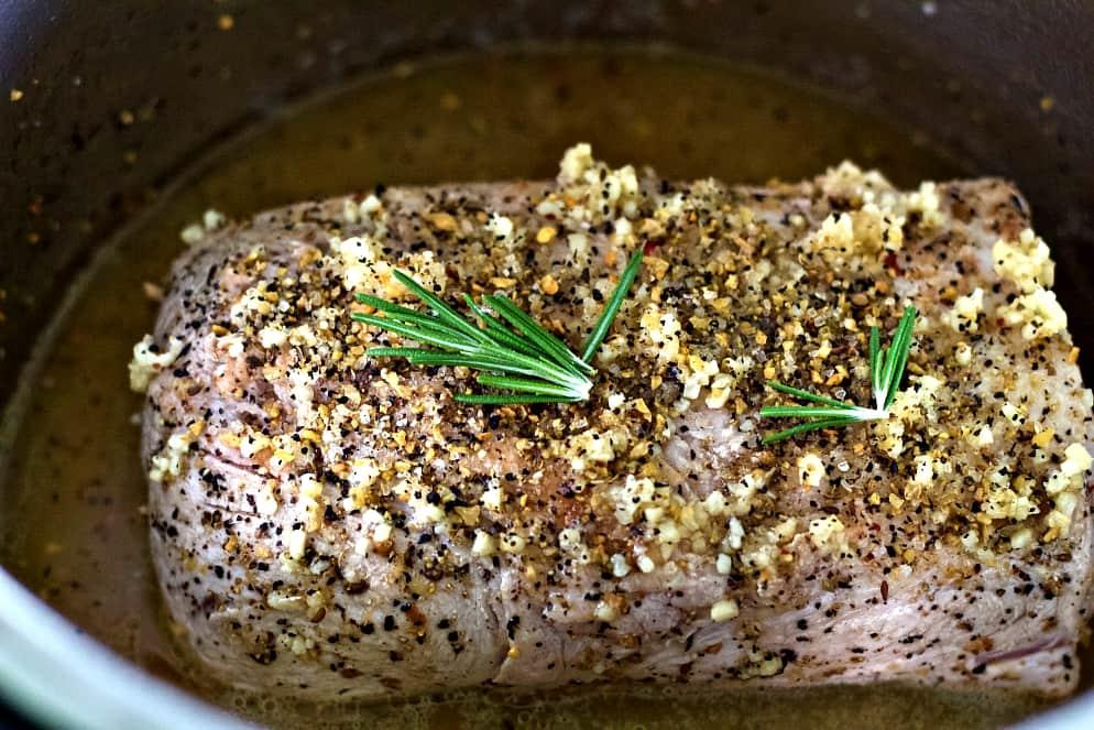 Browned pork roast in instant pot.