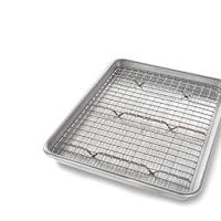 USA Pan 1604CR Quarter Sheet Baking Pan and Bakeable Nonstick Cooling Rack Metal
