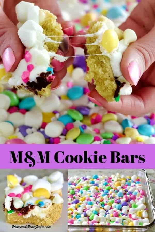 M&M Cookie Bars with white chocolate, marshmallows and sprinkles. delicious Easter dessert or fun family treat. Eat this simple party food anytime. Easily themed for any event by switching out the colors! #dessert #desserttable #easterdessert #kidspartyfood #partyfoodidea
