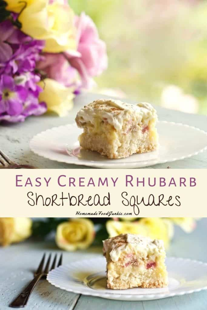 Easy creamy rhubarb shortbread squares-pin image