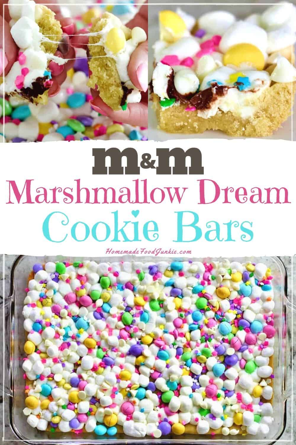 M&M marshmallow dream cookie bars-pin image