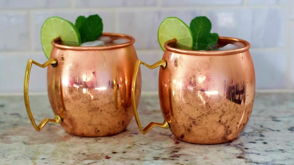 2 moscow mules in copper mugs