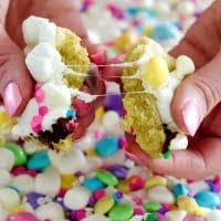 M&M Cookie Bars with white chocolate and mini marshmallows