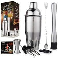 Aozita Cocktail Shaker Set Includes Martini Shaker, Mixing Spoon, Muddler, Measuring Jigger, Liquor Pourers with Dust Caps and Recipes Booklet- Professional Stainless Steel Bar Tools