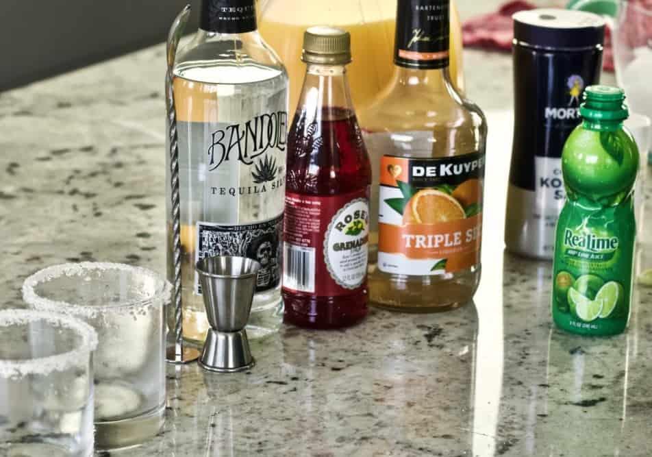Ingredients for Tequila sunrise margarita